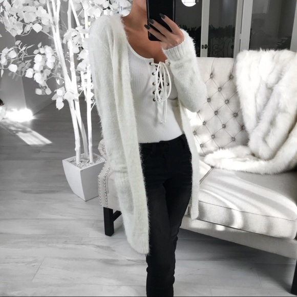 Soft fuzzy snowy white cardigan. S/M from Kimberly's closet on ...